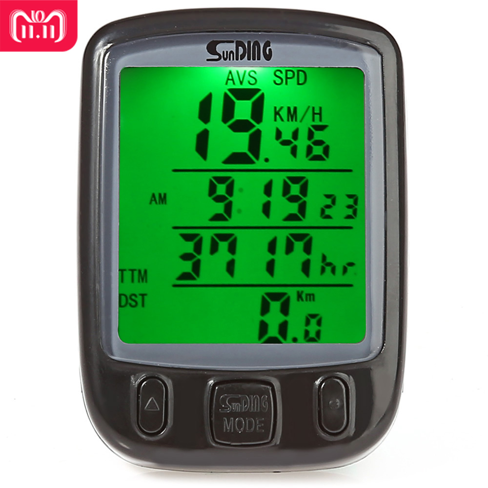 SunDing SD-563B Bicycle Computer Water Resistant Cycling Odometer Speedometer with Green LCD Backlight Bike Computer SD - 563B анальная пробка doc johnson kink wet works lube luge premium silicone plug 5 черный