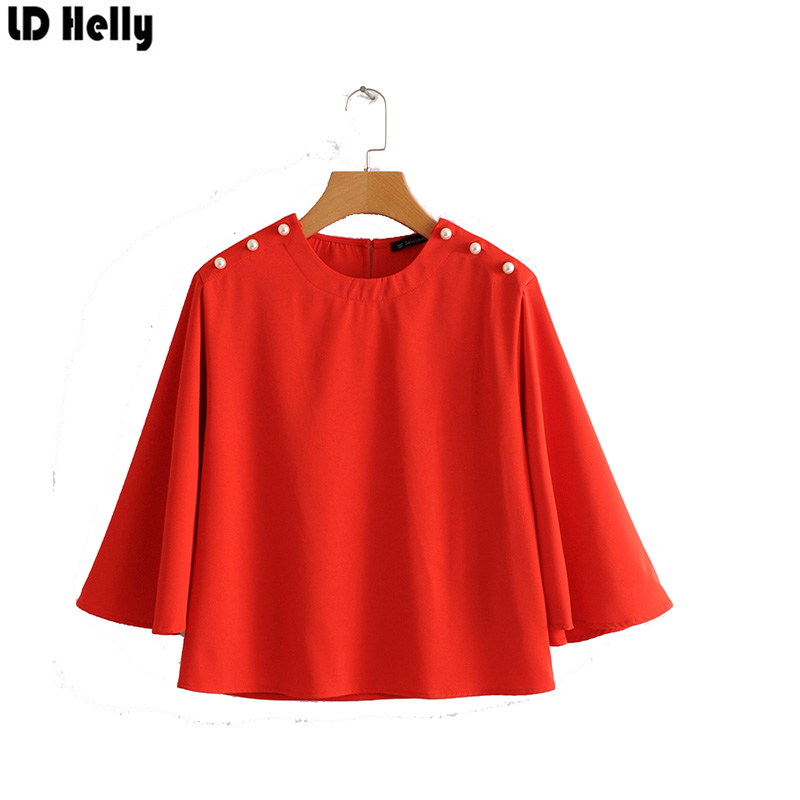 LD Helly 2018 Women Solid Beading Bloues Fashion O-Neck Three Quarter Sleeve Shirts Female Casual Loose Tops Blusas Feminina ...