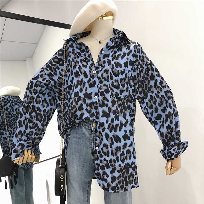 Long Female Pink Shirts Lady Women Autumn Leisure Sleeve Casual Blouses Tops Leopard Blusas Slim Office Blouse Shirt Spring 0wvn8NmO