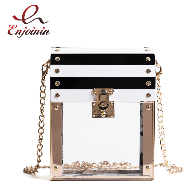 Transparent Striped Color Fashion Party Chain purse female clutch bag Handbag Shoulder Bag ladies crossbody Mini messenger bag 2017 women bag cowhide genuine leather fashion folding handbag chain shoulder bag crossbody bag handbag party clutch long wallet