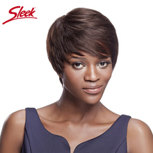 Sleek Cheap Straight Human Hair Wigs For Black Women Brazilian Wig Rem