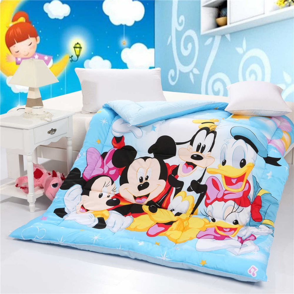 Disney Mickey Minnie Mouse Goofy Donald Duck Toss Blue Quilt Cotton Fabric