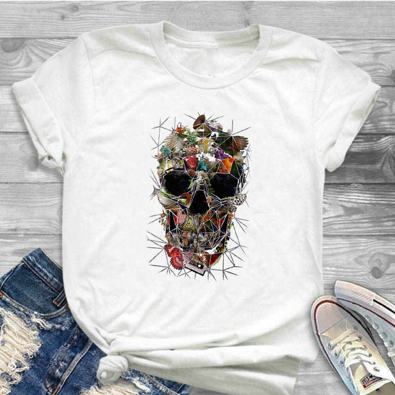 Women Shirt Skull Flower Butterfly Clothing Short Sleeve Ladies Female T Womens Clothes T-shirt Graphic Printed Top Tshirt