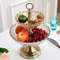 European Crystal glass Plates home Decor Crafts double deck Fruit tray fruit bowl decorative hanging plates Dinnerware Plate