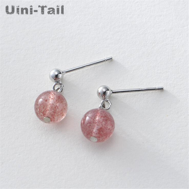 Uini-Tail hot new 925 sterling silver sweet natural strawberry crystal ear hook simple fashion peach pink round pearl earrings