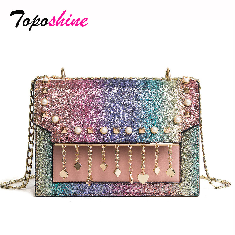 2018 Korean Version of the New Fashion Sequins Hit Organ Small Package Wild Casual Shoulder Messenger Messenger Bag 2018 new female bag korean version of the striped shoulder messenger bag small fashion handbags ladies wrist bag