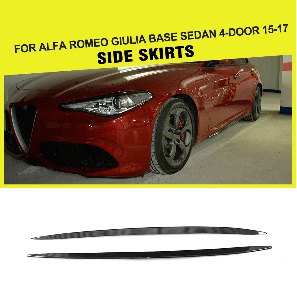Jupes latérales Pare-chocs Tabliers autocollant en fibre de carbone pour Alfa Romeo Giulia Quadrifoglio Style Berline 4-Porte 2015-2017 Style de voiture