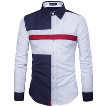 Top Sale Fashion Men's Shirts Hit Color Patchwork Long Sleeve Slim Fit Formal Shirt Casual Male Tops Camisas Man's Clothing