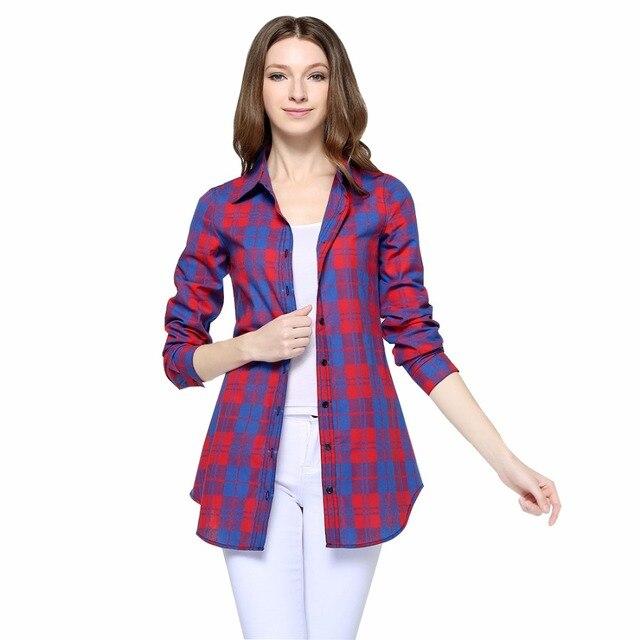 Vente chaude Femmes Blouses Longues Chemises Unique Poitrine Plaid Coton Chemise Sauvage Casual Streetwear Chemise Femmes Plus La Taille Blouse BE66