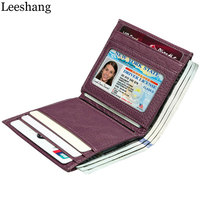 Leeshang 2017 New Women S Genuine Leather Small Card Holder Zipper Hasp Fold Small Wallet Women