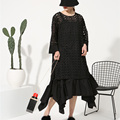 [Soonyour] 2017 новая коллекция весна шею длинным рукавом кружева сплошной цвет белый черный двух частей dress женщины моды прилив J12900