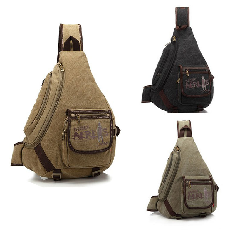 New Men's Canvas Vintage Travel High Capacity Cross Body Messenger Shoulder Triangle Sling Back Chest Bag скакалка everlast everlast ev001duium10