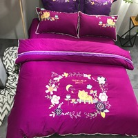 Luxury European Bedding Sets Queen King Size Embroidery Egyptian Cotton Bedlinens Duvet Cover Bedsheet Pillow Cases Christmas