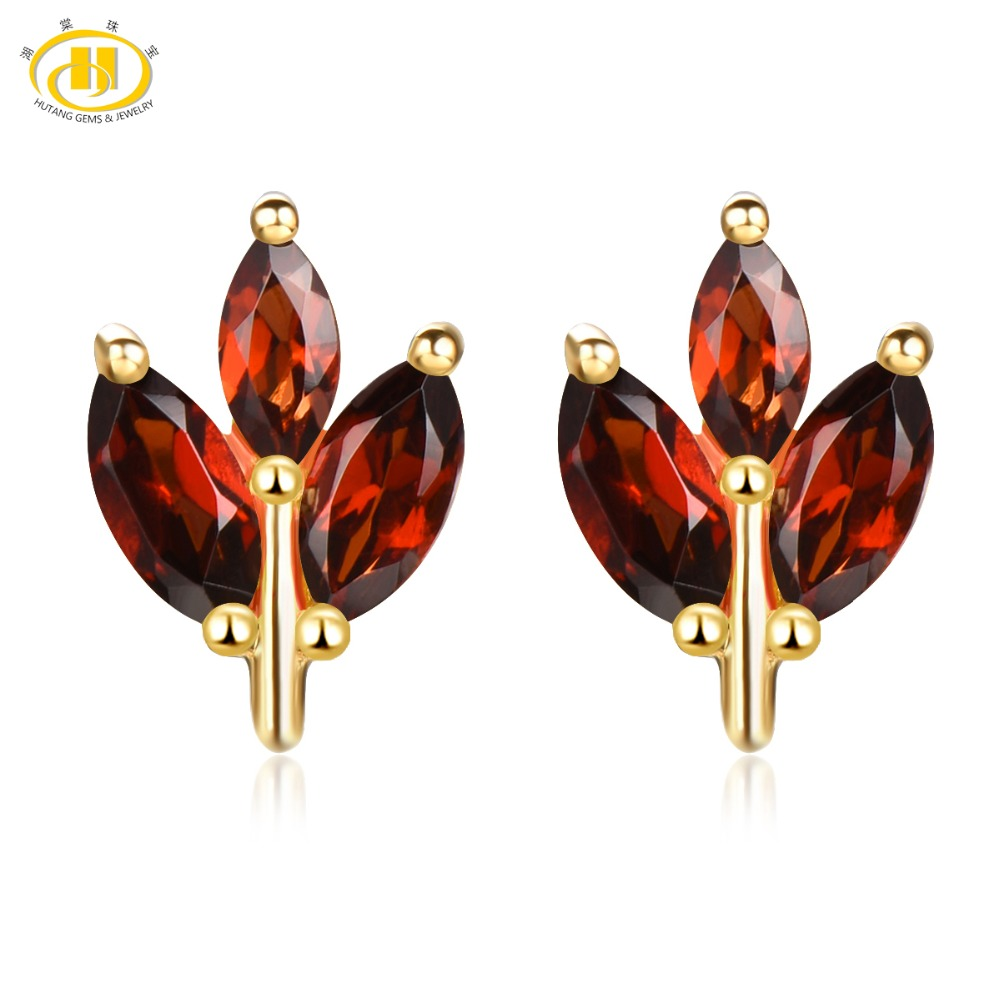 Hutang Stone Jewelry Natural Gemstone Garnet Solid 925 Sterling Silver Buds Leaf Earrings Spring Fine Fashion Jewelry For Gift artificial gemstone leaf teardrop earrings