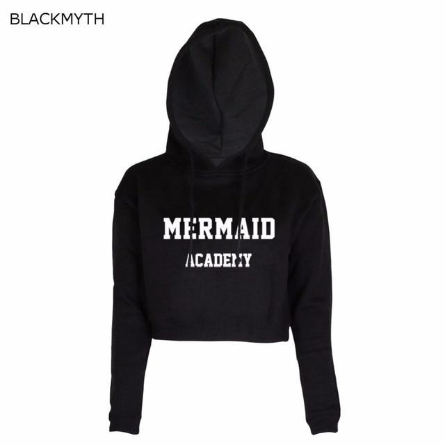 1e2ad95a76 Aliexpress.com : Buy BLACKMYTH Crop Hoodies Tracksuits Streetwear MERMAID  ACADEMY Printed Women Hoodie Crop Funny Sweatshirts from Reliable funny ...