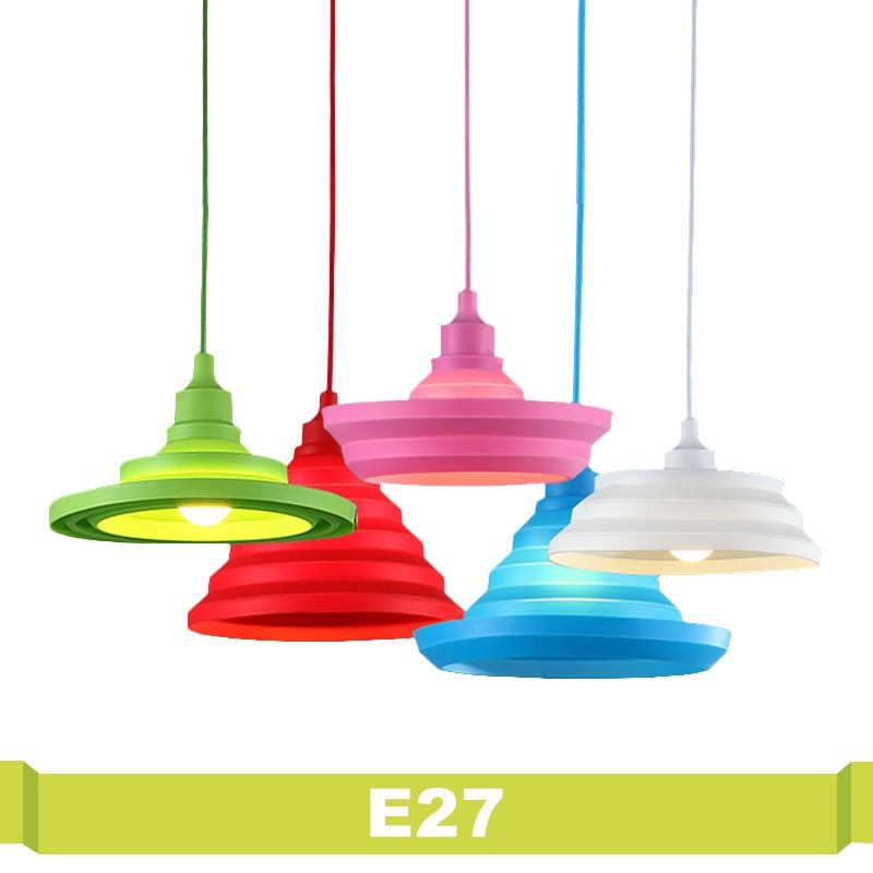 Silicone E27 lamparas colgantes pendente de teto Lumiere Vintage Modern Indoor Lighting E27 Pendant Lights Living Room Lampshade parure de lumiere тональный крем 03
