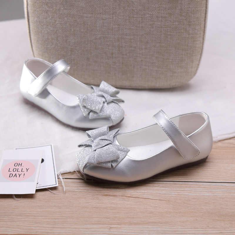 Mới Thu Trẻ Em Giày Da PU Bé Gái Nơ Giày Trẻ Em Lấp Lánh Giày Công Chúa Vũ Điệu Thương Hiệu Vàng Bãi Đảng Mary jane