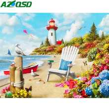 AZQSD Diamond Painting New 2019 Embroidery Landscape Mosaic Seaside Cross Stitch Needlework Rhinestones Pictures