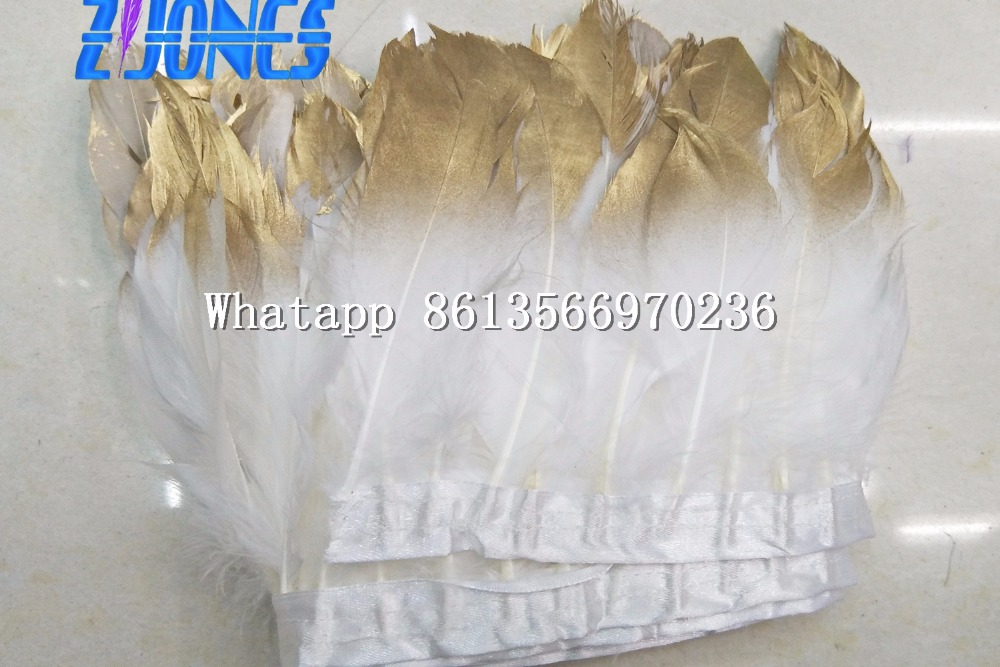 New White/Gold Goose feather trims 10 meters/lot 5 pcs Dyed geese feather ribbons /15-20 Duck feather fringes for Costume/skirt
