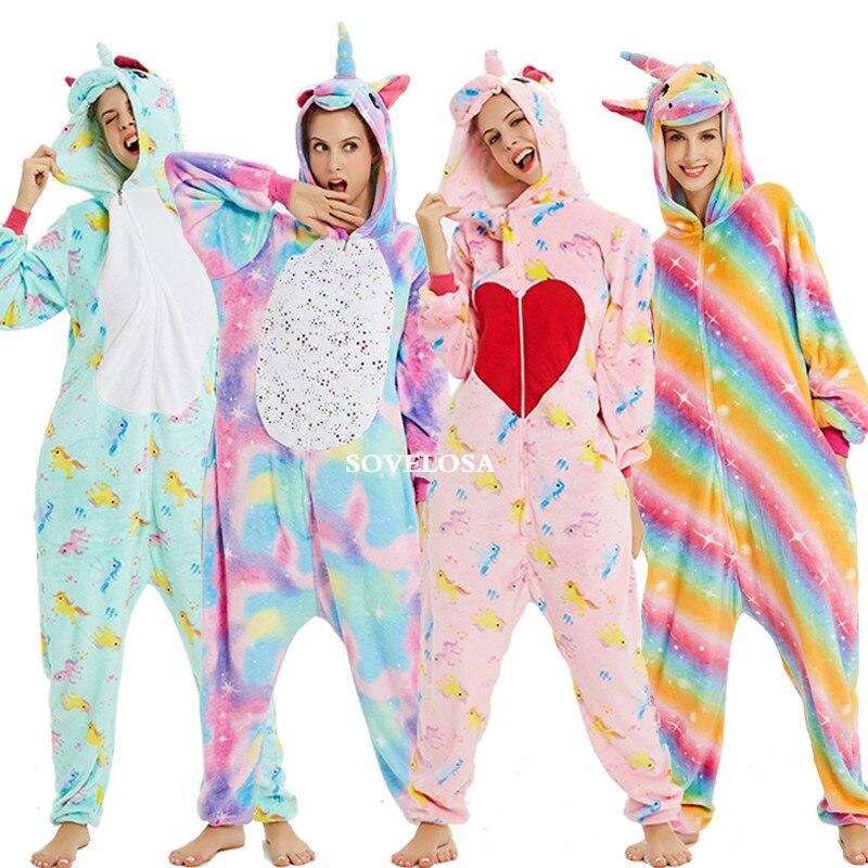 Winter Unicorn Kigurumi Onesie Adult Pijama Women Animal Pajamas Sets Panda Cosplay Sleepwear Unicornio Pyjamas Unisex Overalls
