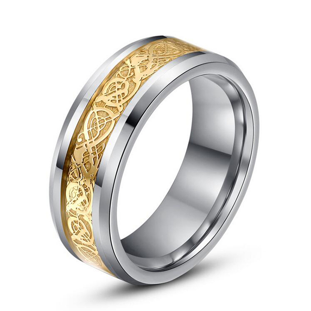 Men Dragon Ring Authentic Tungsten Carbide Ring Gold Silver