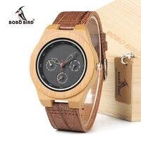 BOBO VOGEL H28 Mens Houten Bamboe Horloge met Lederen Band 3ATM Waterbestendig Horloge Uurwerk voor Mens Womens in Doos