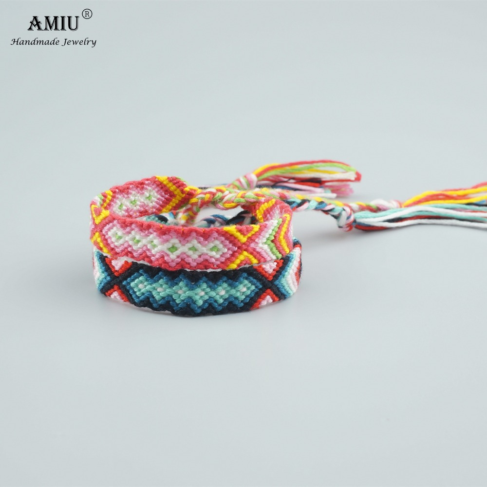 AMIU Handmade Bracelet Custom Cotton Wrap Popular Woven Rope String Friendship Bracelets For Women Men
