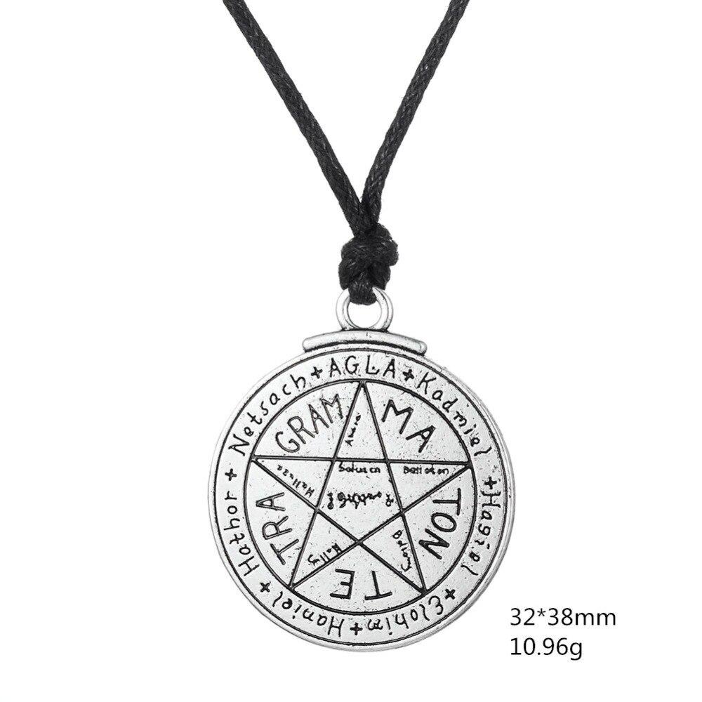 fishhook Protection Pendant Necklace Viking Necklace Hebrew Tetragrammaton Talisman Love Pentagram Amulet Necklace for Women Men Boys Boyfriend