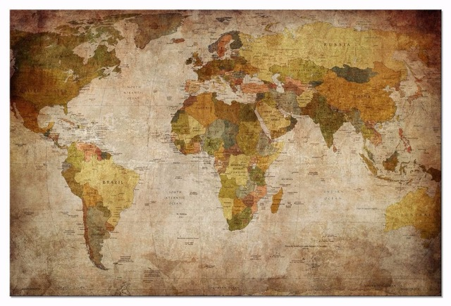 Canvas wall art print vintage world map painting 1piece framed canvas wall art print vintage world map painting 1piece framed canvas painting antiquated map world painting gumiabroncs Image collections