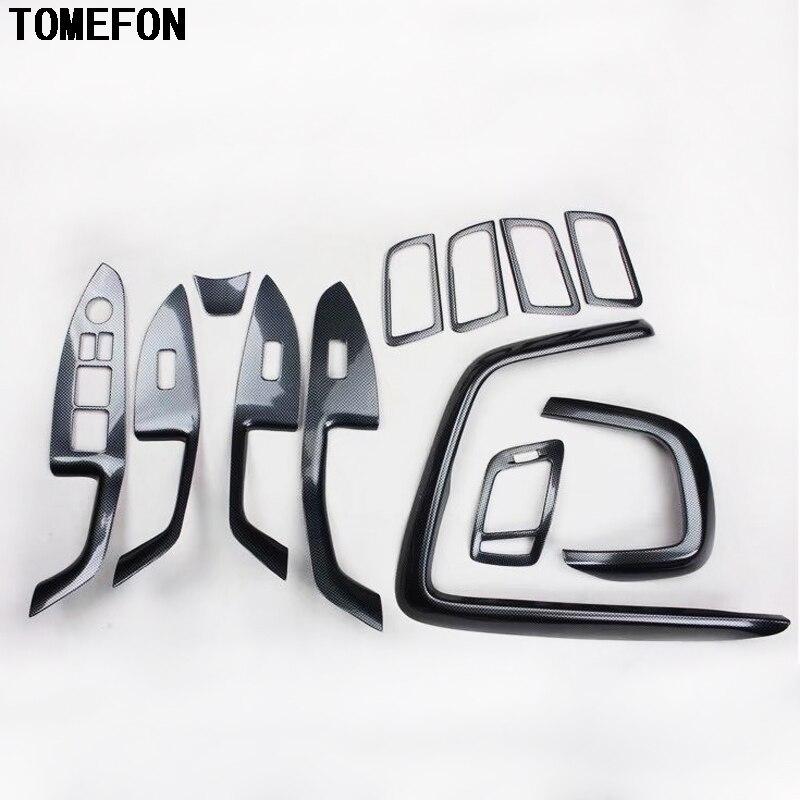 TOMEFON Carbon Fiber Front Air Vent Steering Wheel Inner Door Handle Window Switch Interior Trim For Kia Optima K5 2011 to 2015 for kia optima k5 2010 2015 inner front