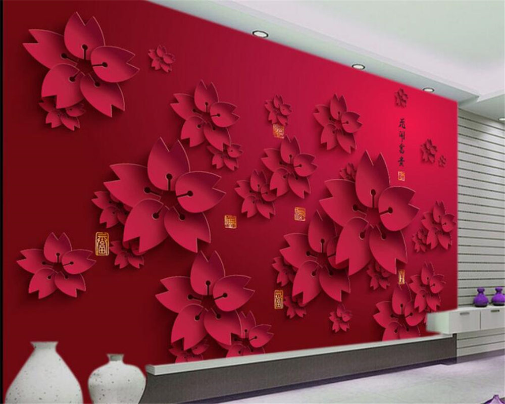 Us 8 85 41 Off Beibehang 3d Wallpaper Hd Red Flower Photo Mural Living Room Home Decor Wall Paper Papel De Parede Abstract Floral Wallpaper In