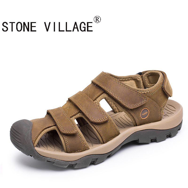 ФОТО WEISE Free shipping Baotou outdoor beach sandals Sandals Size wading shoes leather casual leather sandals size 38-46