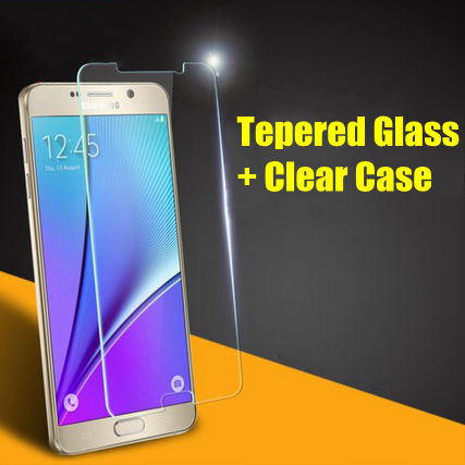 for Samsung NOTE5 4 3 2 Front Tempered Glass + Clear Back Case Galaxy Note 5 4 3 2 Ultrathin Slim transparnet Phone Accessaries