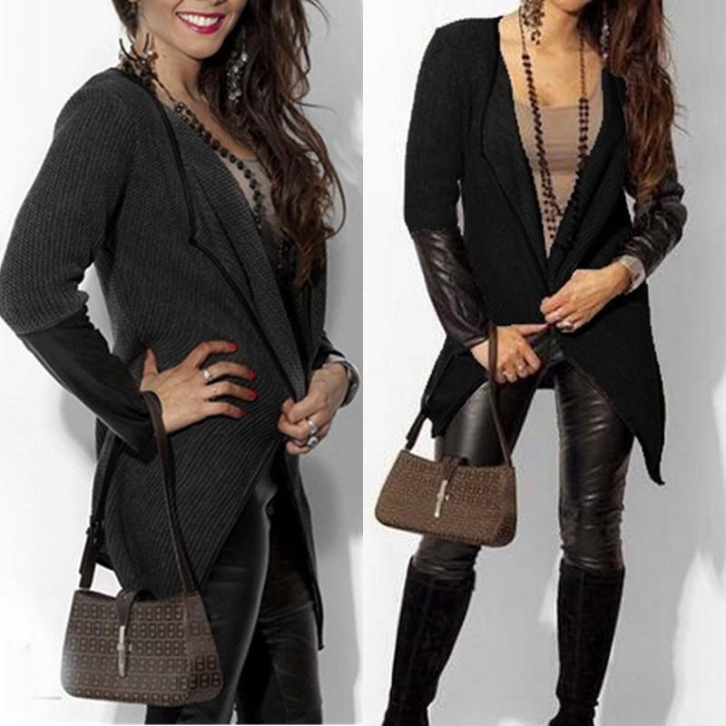 Women Long Sleeve Leather   Jacket   2018 Autumn Female   Basic     Jacket   Plus Size Pockets Slim Splice Cardigan Coats Casual Outwear