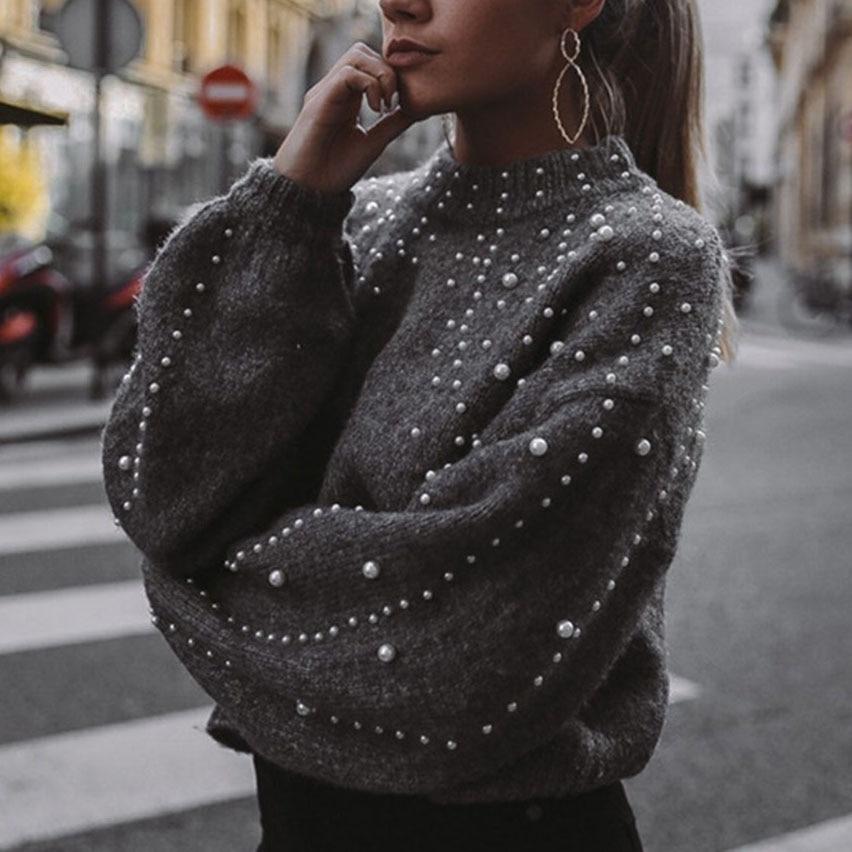 Invierno suéteres de cuello de perla Beading suéter cálido linterna de manga de las mujeres Jersey mujer suelta gris Jersey tire de A4