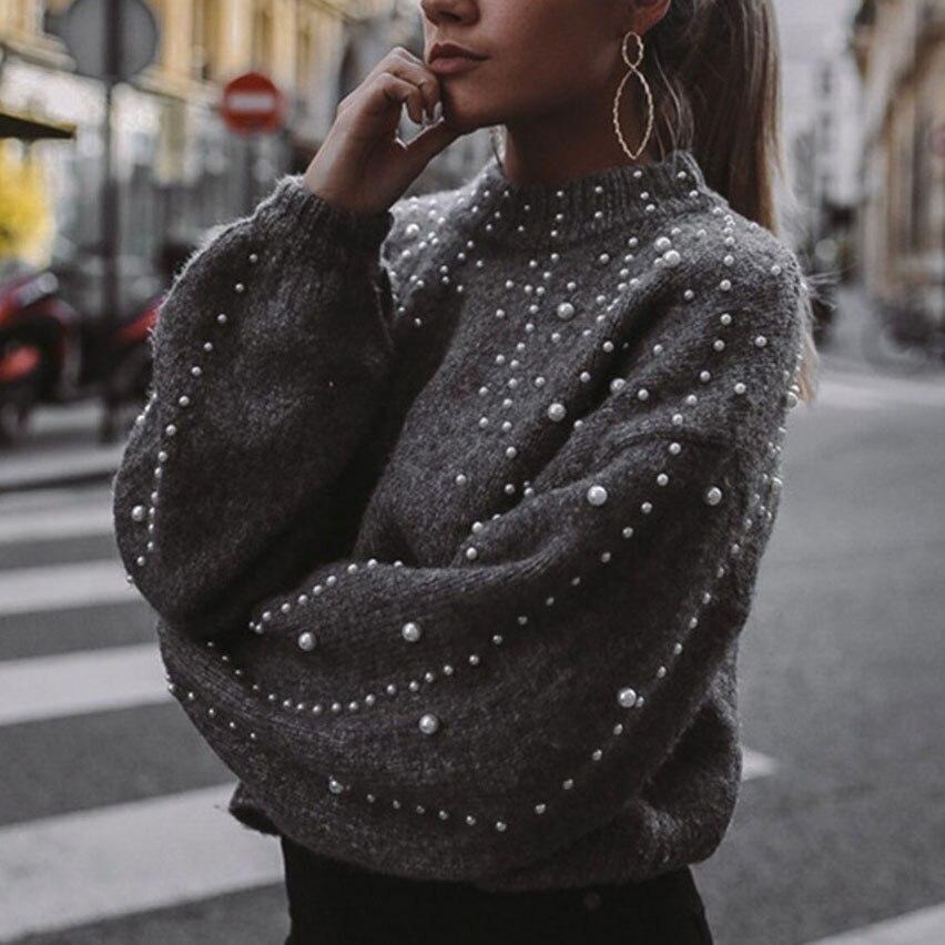 Winter Rollkragen Pullover Perle Perlen Pullover Warme Laterne Hülse Frauen Jumper Weibliche Lose Grau Pullover Pull Gestrickte A4