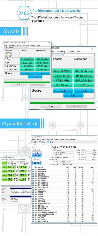 FUJITSU ssd 240 gb 2.5inch 120 gb 480GB SATA 6Gb/s TLC Read/Write Speed 500MB/s 3year warranty Solid State Drives for PC laptop 54