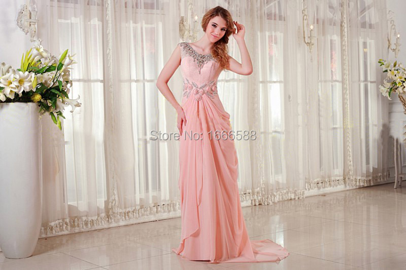 Free Shipping OC 2016 Baby pink silk chiffon elegant prom dress ...