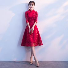 Red Modern Cheongsam Sexy Short Qipao Dress Oriental Style Dresses Traditional Chinese Clothing For Women Bride Traditions все цены