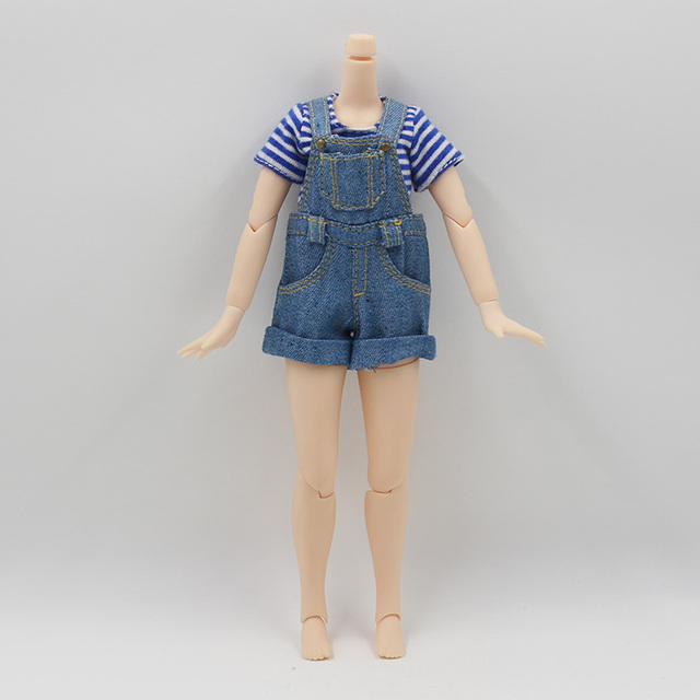 Blythe Doll Clothes Strap Jumpsuit T-shirt Combo