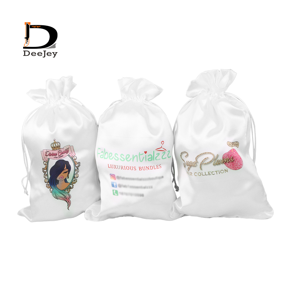 Niestandardowe logo drukowane poliester satyna jedwab torby 18x30 cm sznurek do włosów torby do pakowania do przedłużania włosów torby 50 sztuk dużo w Torby do przechowywania od Dom i ogród na  Grupa 1