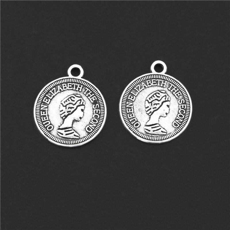 30 pçs cor de prata redonda moeda elizabeth ii encantos cabeça retrato pingente pulseira colares acessórios jóias 14x17mm a3130