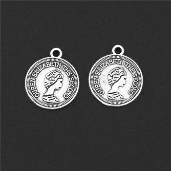 30 шт Серебряный цвет круглая монета елизания II амулеты голова кулон с портретом браслет ожерелья ювелирные изделия аксессуары 14X17mm A3130