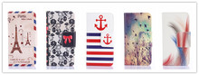 Premium pu Leather Flip Hard Tower Pattern Style Cover Case For iPhone 5 5S Flower & Butterfly Fashion Stand Wallet handbag