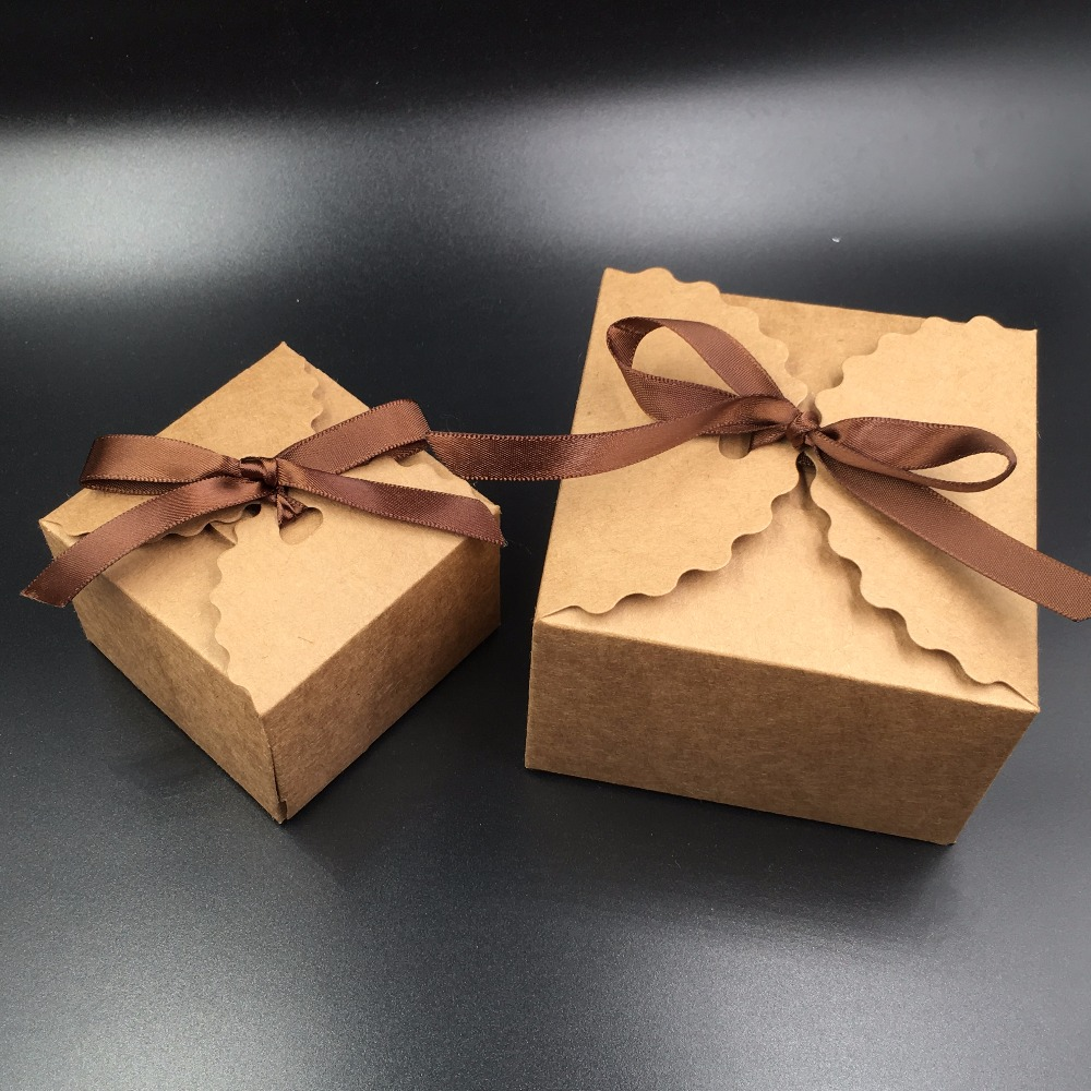 24pcs Brown Gift Box Kraft Paper Candy Boxes For CandyCakeJewelryGiftchocolateParty Packing boxes
