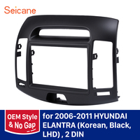 OEM Style No gap Seicane 2 Din Car Radio Frame Fascia Dash Panel for HYUNDAI ELANTRA (Korean, Black, LHD) Install Dash Trim Kit