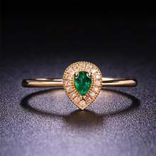 ANI 18K Yellow Gold (AU750) Emerald Women Wedding Ring Certified Natural Diamond Pear Cut Ring for Engagement Jewelry Bague auleeze solitaire 0 20cttw round cut natural diamond couple rings 18k yellow gold men and women engagement wedding ring