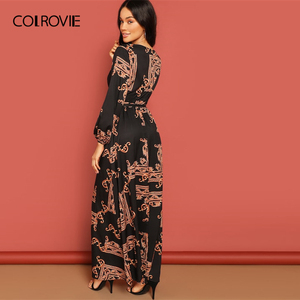 Image 2 - COLROVIE V Neck Scarf Print Belted Wrap Casual Dress Women 2019 Spring Long Sleeve Party Maxi Dress Vacation Ladies Dresses