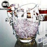 Crystal glass insulation ice bucket ice bucket champagne bucket bar supplies ice tongs large