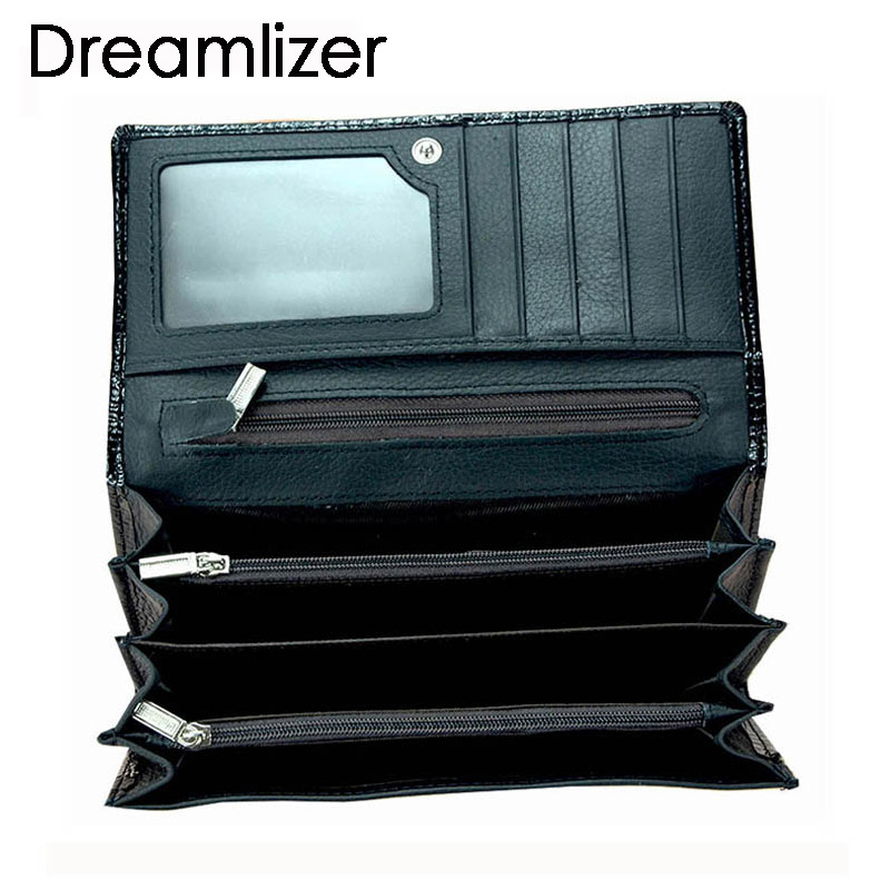 Dreamlizer Women Soft Leather Crocodile Wallet Women Bifold Genuine Leather Female Purse Zipper Coin Purse Lady Card Holder